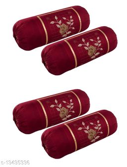 HK Collection Cotton Luxury (Gulab) Bolster Cover (Set of 4 Pieces)