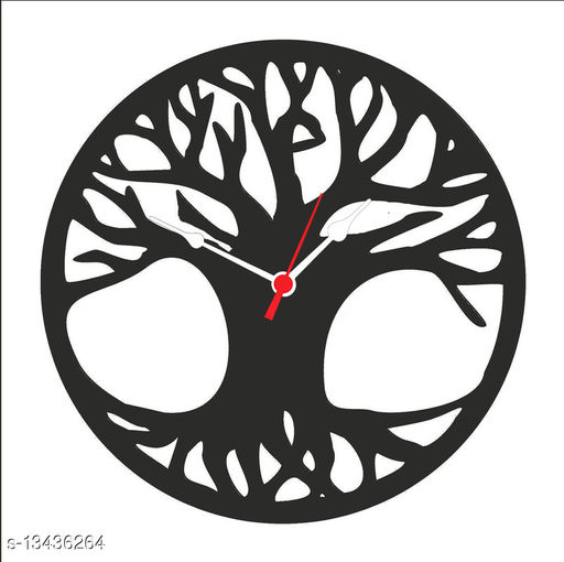 Ddeziner Round Shape MDF Wooden Analog Wall Clock for Home Bed Room Office Kids Room (Wooden)
