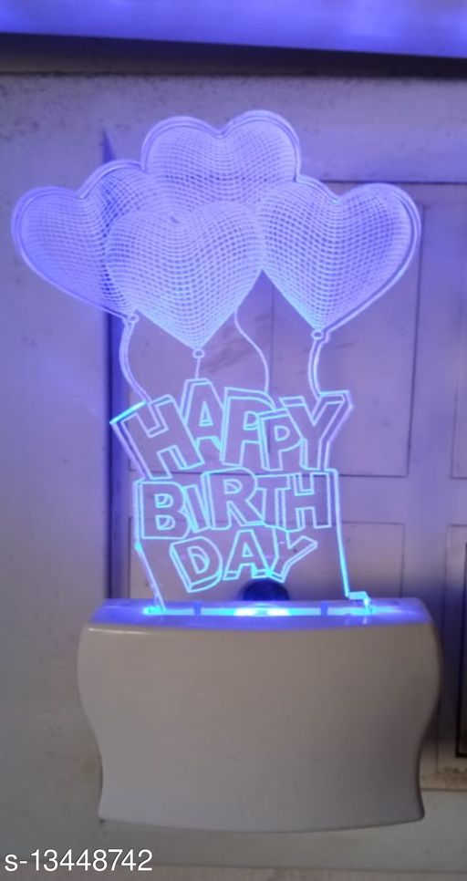 Happy Birthday With Bubble 3D Illution 7 Multicolor Night Lamp