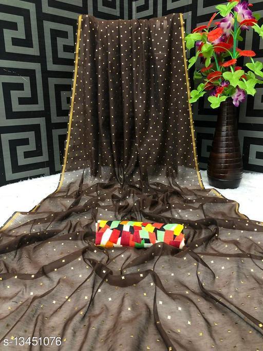 Women's Chanderi Cotton Foil Print Saree Satin Silk Blouse
