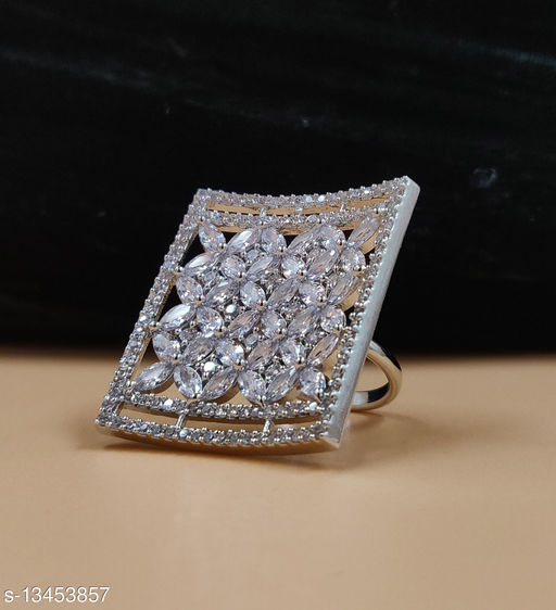Neelam Antique Silver Plated Adjustable AD/CZ Finger Ring for Women & Girls