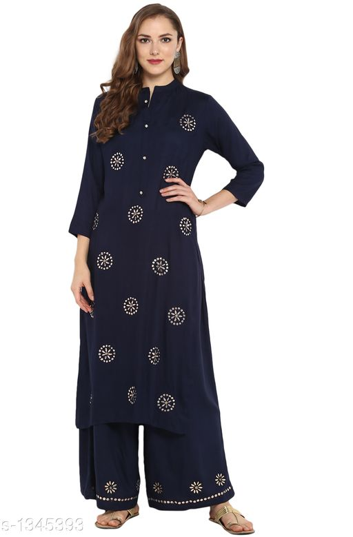 Kurta Sets Partywear Women's Rayon Kurta Set  *Fabric* Kurti -Rayon ,Bottom -Rayon  *Sleeves* Sleeves are included  *Size* Kurti - S - 36 in ,M - 38 in ,L - 40 in ,XL - 42 in ,XXL - 44 in ,Bottom - S -28 in ,M -30 , L - 32 In , XL - 34 in , XXL - 36 in .  *Length* Kurti - Up To 48 in , Bottom - Up To 39 in  *Type* Stitched  *Description* It Has 1 Piece Of Women's Kurti With Bottom  *Work Kurtis * Mirror  , Bottom - Mirror Work  *Sizes Available* XS, M, L, XL, XXL, XXXL   Catalog Rating: ★4.3 (7) Supplier Rating: ★4.1 (4330) SKU: SET027-KR-PP Shipping charges: Rs1 (Non-refundable) Pkt. Weight Range: 600  Catalog Name: Janasya Partywear Womens Kurta Set Vol 2 - Janasya Code: 0401-1345393--3111