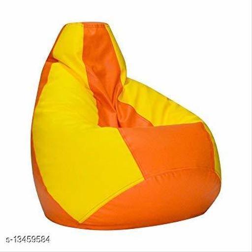 InkCraft Bean Bag Without Beans (Orange & Yellow,XL)