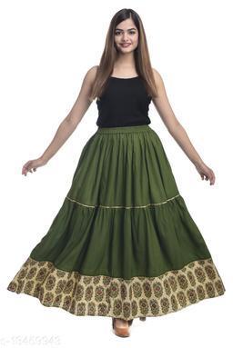 NYPA Women Printed Gathered Green Skirt