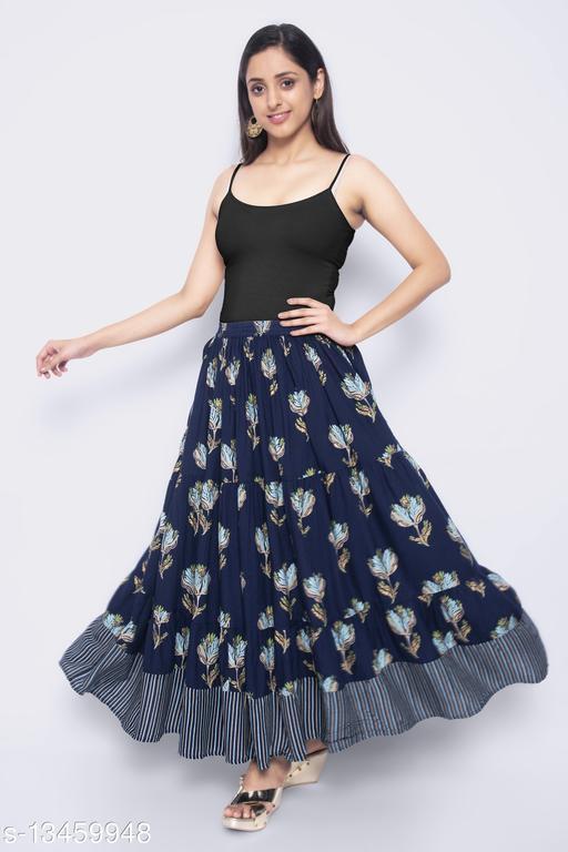 NYPA Women Printed Gathered Blue Skirt