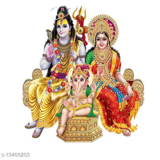 Masstone Lord Shiva And Parvati with Ganesha Religious God Wall Sticker