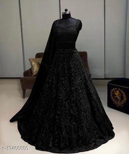 Trendy  Black Lehenga Net With Chain Work