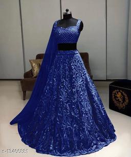 Trendy  Blue Lehenga Net With Chain Work