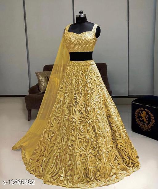 Trendy  Yellow Lehenga Net With Chain Work