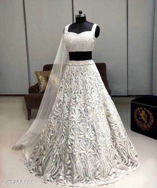 Trendy  White Lehenga Net With Chain Work