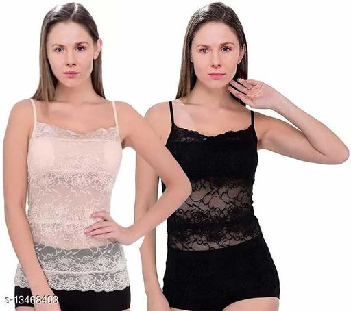 Women Pack of 2 Multicolor Nylon Camisoles