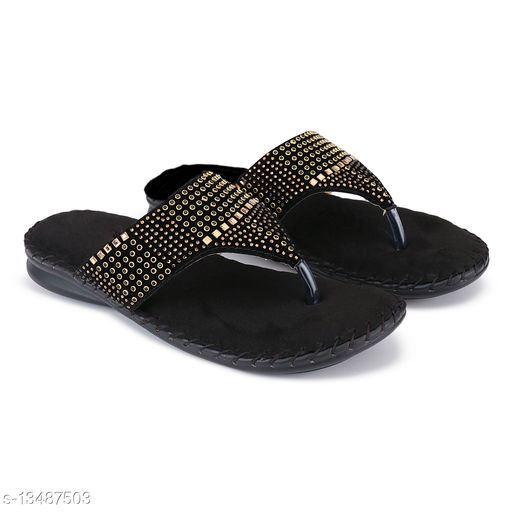 Attractive Women's Synthetic Black Flats