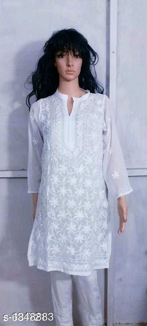 Women's Embroidered White Georgette Kurti