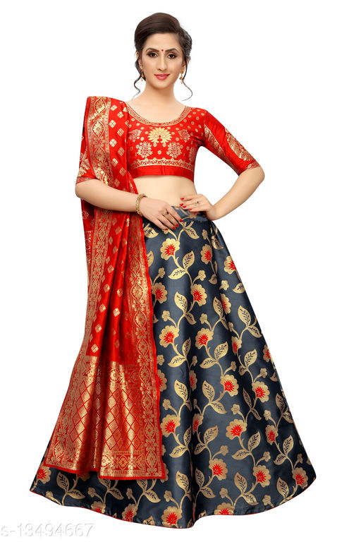 Banarasi Jacquard Women's Lehenga Skirts with unstiched Blouse and dupatta