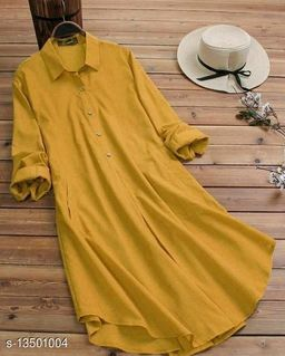 Zamaisha designed Fancy Mustard Buttoned A-line Rayon Stylish Top for Women
