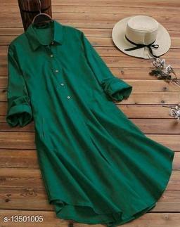 Zamaisha designed Fancy Green Buttoned A-line Rayon Stylish Top for Women