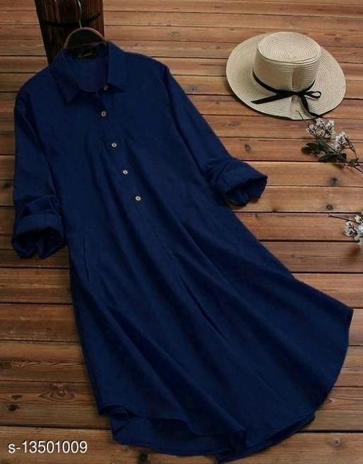 Zamaisha designed Fancy Navy Blue Buttoned A-line Rayon Stylish Top for Women