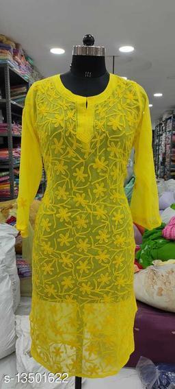 Women's Chikankari yellow Georgette Kurti