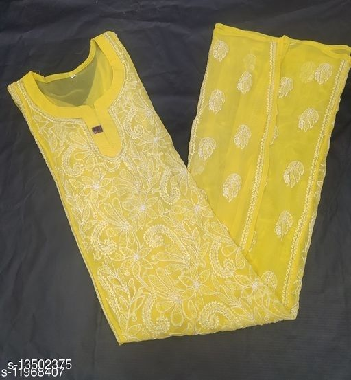 Women Georgette Anarkali Chikankari Yellow Kurti