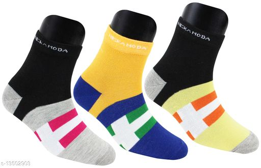 Neska Moda Men's 3 Pair Printed Cotton Ankle Length Socks (Blue,Grey,Yellow)