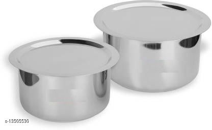 Stainless Steel 2 pcs Tope Set with Lid ( 2 Pieces, 1 Ltr,  2.5 Ltr)