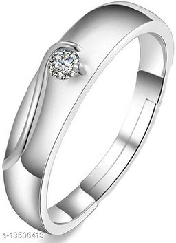 Rhodium Plated Cz Jewellery Adjustable Designer Solitaire Finger Ring for Boys and Men FR1000941