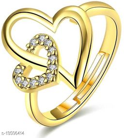 Gold Plated Valentine Special Heart in Heart Adjustable Finger Ring Studded With Cz Stones for Girls and Women FR000935