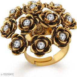 Crystal Jewellery Gold Plated Floral inspired Finger ring for girls and women FR1000940