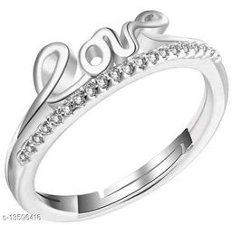 Cz Jewellery Rhodium Plated Adjustable Love Ring for Girls and Women FR1000945