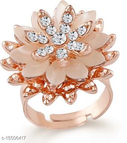 Crystal Jewellery Rose Gold Plated Blooming Flower Shaped Adjustable Finger Ring Emblished with Cats Eye Stone FR1000939