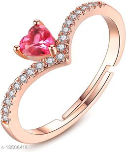 Rose Gold Plated Adjustable Enchanting Proposal Heart Ring Decorated with Pink and White Cz Stones for Girls and Women FR1000936