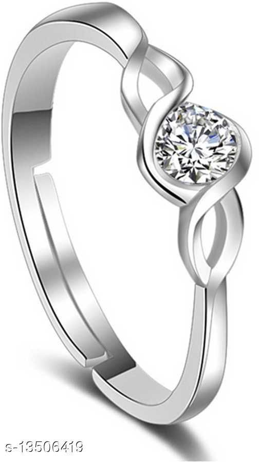 Rhodium Plated Adjustable Curvy CZ Solitaire Finger Rings Crafted for Girls and Women FR1000914WHT