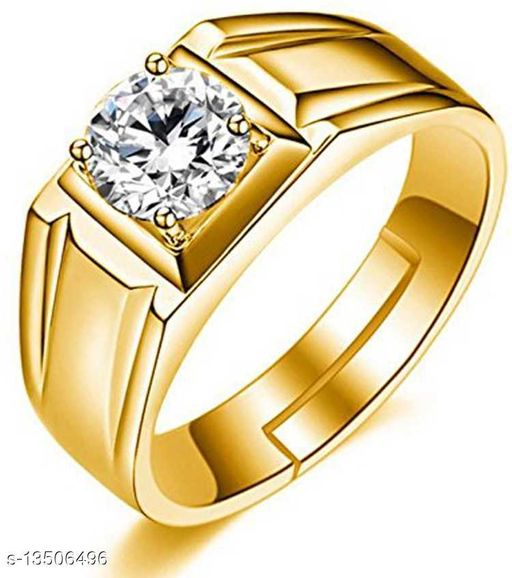 Classic Gold Plated Adjustable Finger Ring made with Cz Stones for Men FR1000925