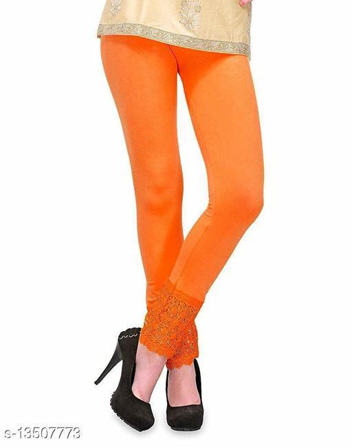 Lets Shine Lace Leggings for Females, Stylish Bottom Wear, Orange Color Free Size