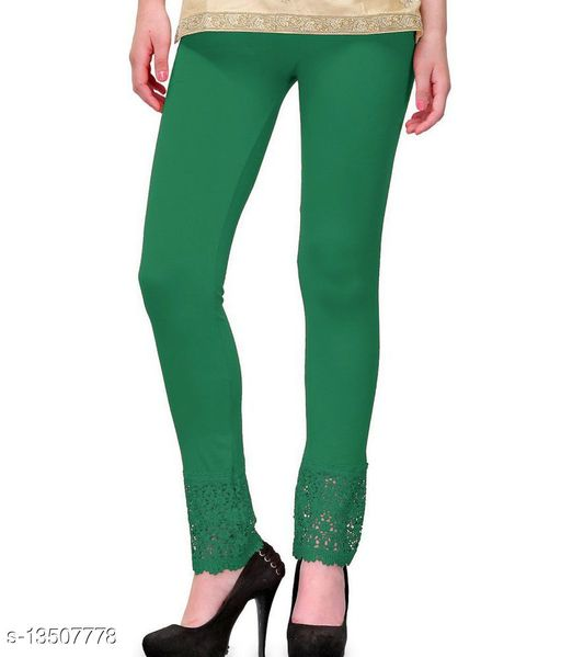 Lets Shine Lace Leggings for Females, Stylish Bottom Wear, Green Color Free Size