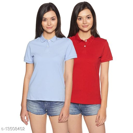 BAZARVILLE Women's Regular fit Polo Plain Poly Cotton Polo T-Shirt Collar HoneyCombed Tshirt    Solid Basic Collared t shirt Women Girls Half Sleeve ( Pack of 2 )  ( Large , Red & Light Blue )
