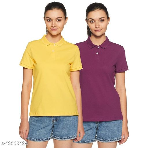 BAZARVILLE Women's Regular fit Polo Plain Poly Cotton Polo T-Shirt Collar HoneyCombed Tshirt    Solid Basic Collared t shirt Women Girls Half Sleeve ( Pack of 2 )  ( XXL , Purple & Yellow )