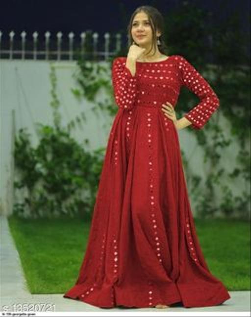 Women Rayon Anarkali Gown