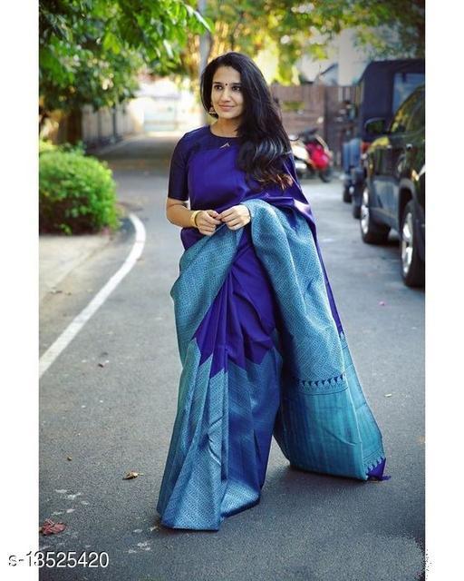 Madhav Sarees Women's Kanjivaram Banarasi Jacquard Silk Saree With Blouse Piece