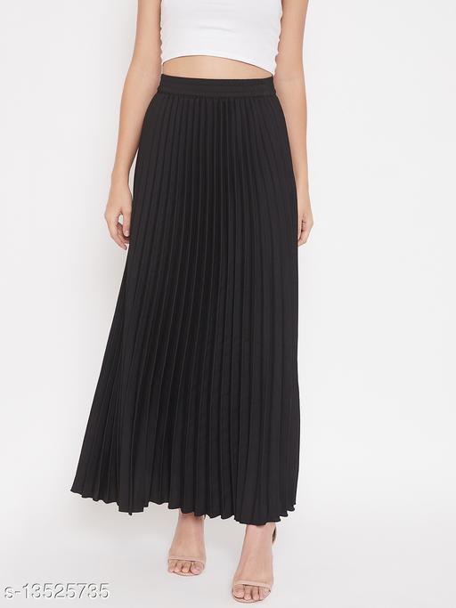 U&F Crepe Black Ankle Length Solid Pleated Skirt
