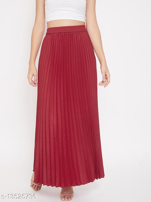 U&F Crepe Maroon Ankle Length Solid Pleated Skirt