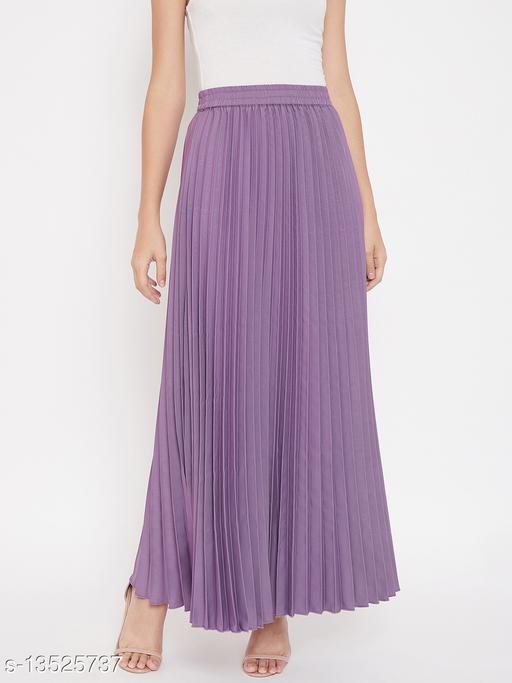 U&F Crepe Purple Ankle Length Solid Pleated Skirt