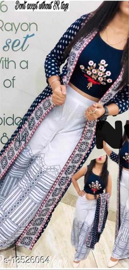 Women Rayon Jacket Kurta Long Kurti With Palazzos