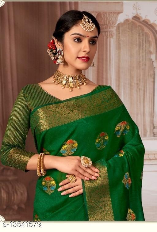 Marudhar Kesri Drk Green Color Chanderi cotton Saree for Women