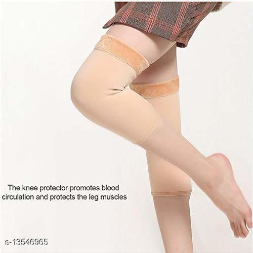 PinKit Soft & Warm Cozy 100% Super Hot Fully Stretchable Best Quality Velvet Fleece KNEE CAP Socks for Ladies/Girls/Women (Pack of 1 Pair) - Beige