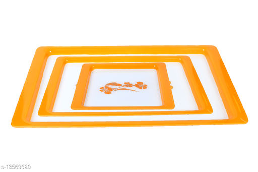 KPA Rectangular Serving Tray Serving Tray Set of 3 |Tea, Coffee, Snacks, Water | Color May Vary | Royal Designer Tray | Size:-1:-6X9,2:-8X12.5,3:-10.5X16