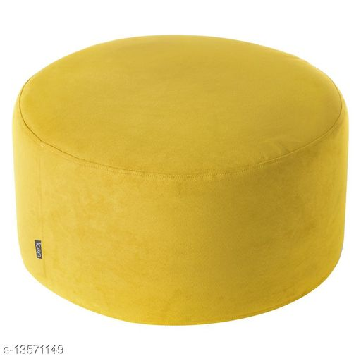 InkCraft Leather Round Footstool Without Beans (Yellow)