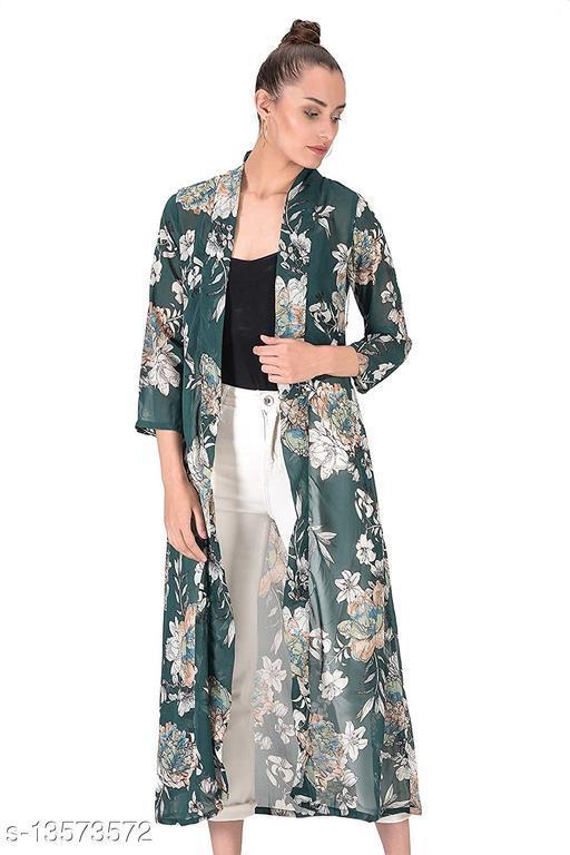 Women's Loose Fit Green Floral Printed Georgette Shrug