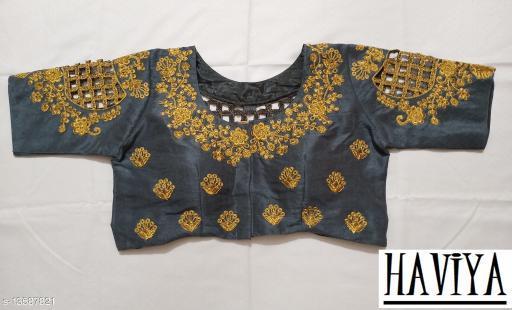 Women's Phantom Silk Grey Embroidered Unstitch Blouse