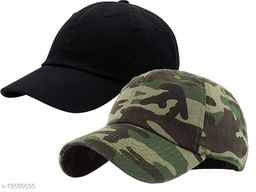 Trendy Men's Darkgrey & Khaki Cotton Cotton Caps